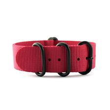 5-Ring Red Nylon Military ZULU Watch Strap (Black 20mm, 22mm)