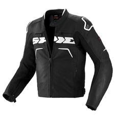 Spidi EVO motard cuir moto sports Course Veste imperméable - Noir/Blanc