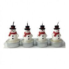 PUPAZZI di neve e albero di Natale luci tè-Stella in Vetro Porta-Pupazzo di neve-bianco