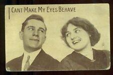 I CANT MAKE MY EYES BEHAVE Romantic Couple Vintage Postcard