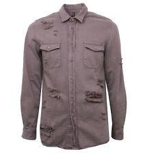 B4345 camicia uomo LOFT 1 camicie manica lunga marrone chiaro shirt man