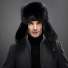 BLACK Men's Winter Hats 100% Real Fox Fur&Lamb Leather