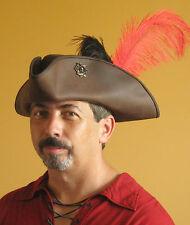 Medieval Celtic Renaissance SCA Larp Leather Tricorn Triangle Pirate Hat Skulls