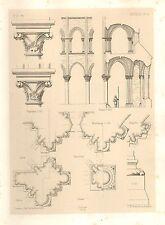 1858 grandi ARCHITETTURA STAMPA ~ senlis Cattedrale Medievale arte Gotica Medievale