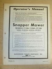 SNAPPER V180 V180S SV180 V211 V211S V2114 SV211 MOWERS PARTS MANUAL # 1-2152