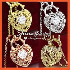 18K GOLD GF HEART PADLOCK SIMULATED DIAMOND BELCHER RINGS CHAIN BANGLE BRACELET