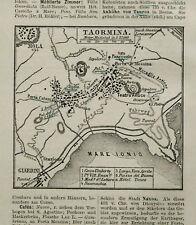 Antica Stampa Topografica.TAORMINA ETNA SICILIA.1902..