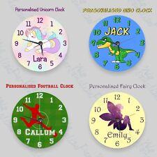 Childrens Personalised Clock Unicorn, Mermaid,Dinosaur, Football clock- add a na