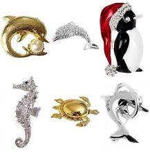 Silver Gold Vintage Brooch Pin Seahorse Dolphin Turtle Penguin Crystal Diamante