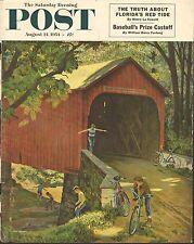 AUG 14 1954 SATURDAY EVENING POST magazine cover print - BOYS BICYCLES BRIDGE