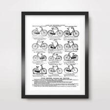 Vintage Bike dibujos de líneas Impresión de Arte Gráfico de pared Vintage Ilustración de cartel