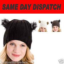 Señoras Nueva Gorro Sombreros con piel sintética Pompones un tamaño Envío rápido