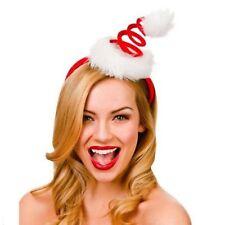 NEW WOMEN CHRISTMAS SPIRAL FUN SANTA HAT ON HEADBAND FANCY DRESS ACCESSORY