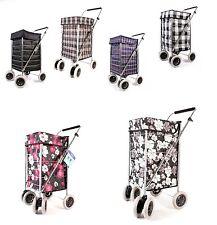Shopping Trolley 6 wheel Cart Grocery Folding 6 Wheels Market Laundry Portable