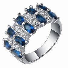 Unisex 925 Silver Waterdrop Sapphire Quartz & White Topaz Rings Marriage Jewelry