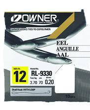 Owner Haken  Aal RL-9330, gebundene rote Aal Haken, Vorfächer zur Auswahl