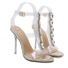 Sandali donna comodi eleganti stiletto alti 11 cm oro gold fascia lacci CW895 ngcJJE8i