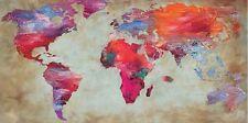 Joannoo: World in Colors Keilrahmen-Bild Leinwand Weltkarte