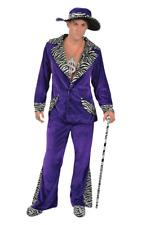 Orion Costumes Mens 70s Purple Velvet Pimp Suit Gangster Hat Novelty Fancy Dress