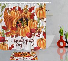 Thanksgiving Fall Harvest Pumpkin Fruit Rustic Shower Curtain Set Bathroom Decor