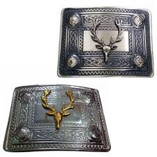 TE Scottish Stag Head Deer Kilt Belt Buckle Chrome,Antique,Black Finish Buckles
