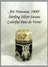 Fab Antique French Sterling Silver Pate de Verre Bottle