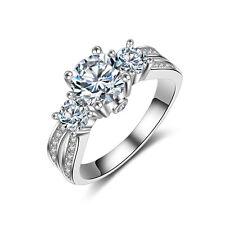 Retro Womens Three-Stones CZ 925 Silver Wedding Luxury Engagement Ring Size 5-10