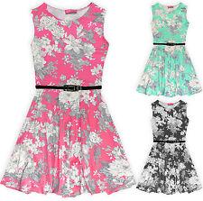 Girls Floral Skater Dress Kids Summer Belted Sun Dresses New Age 7-13 Years