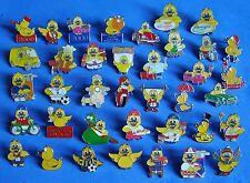 Monty the duck stud pin badges Meningitis charity
