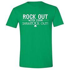 St Patricks Day shirt Rock out Shamrock out Irish Unisex Men T-Shirt Green Tee 7