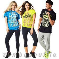 ZUMBA FITNESS World Tour Tee BLACK BLUE GREEN T-shirt -TOP- NEW!!!