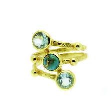 Topaz & Turquoise Ring Gold Triple Band Size L N R - Topaz  November Birthstone