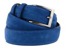 Cintura uomo in camoscio blu avion artigianale e made in Italy accorciabile