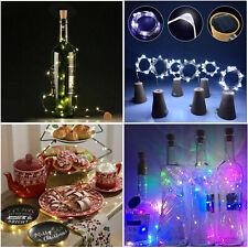 Solar Power 2M LED Copper Cork Wire String Lights Wine Bottle Xmas Decor Lamp RD