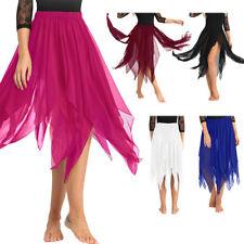 NEW Women's Performance Belly Dance Costume slit Chiffon Skirt Dress  Dancewear