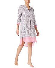 N.W.T $60.00 DKNY Women's Chiffon-Trimmed Sleepshirt,Grey Leopard