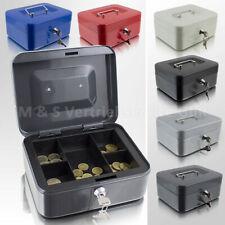 Geldkassette 20 cm klein abschließbar Münz Geld Zählbrett Kasse Safe blau rot