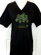 PLUS 3X Black S/S Top Rhinestone Embellished St. Patrick's Day Shamrock Hat