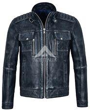 Homme Veste en cuir bleu marine vintage Bleu Racing Denim Look Style Motard 1802