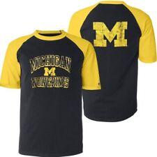 Michigan Wolverines T-Shirt Men's Run And Shoot Champion NCAA Navy/Yellow