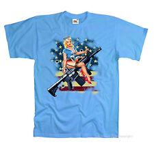 * t-shirt Classic pinup Gun estados unidos Flag Army retro Design motivo * 1097
