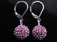 Shamballa Boucles d'oreilles Cristal Rose Boule Disco Plaqué Argent Motif CC103