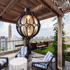 Outdoor Vintage Balcony Glass Ball Pendant Light Waterproof Aluminum Chandelier