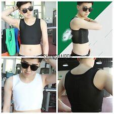 Lesbian Les FTM Mesh Crop Vest Tomboy Tank Top Breast Chest Binder Bandage S-5XL