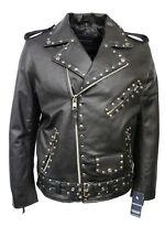 New Fashion Men's Studded Real Black Hide Leather Classic Biker Stylish Jacket