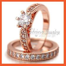 18K ROSE GOLD GF SOLID LUXURY LADIES 1CT ENGAGEMENT WEDDING RING SET LAB DIAMOND