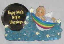 "Blue 4"" ANGEL in Hamock Figurine SIGN - Enjoy Life's Little Blessings on Mirror"