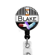 Pharmacy Tech Retractable Badge Reel, Badge Holder for Pharmacist, Name Clip