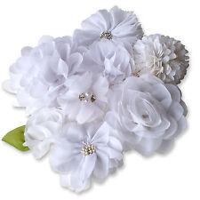 WHITE Wedding Fabric Flowers CRAFT Glue/Sew On Embellishment Applique DIY Card
