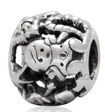 Sterling Silver European Charm Bead Christmas Toys Santa Elf Workshop Christmas